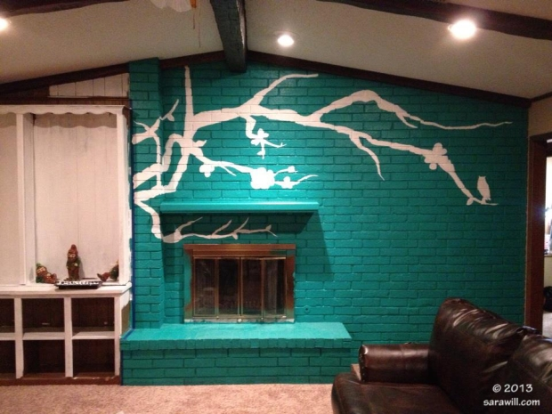 Painted Fireplace with Branch Silhouette by Dustin Parsons