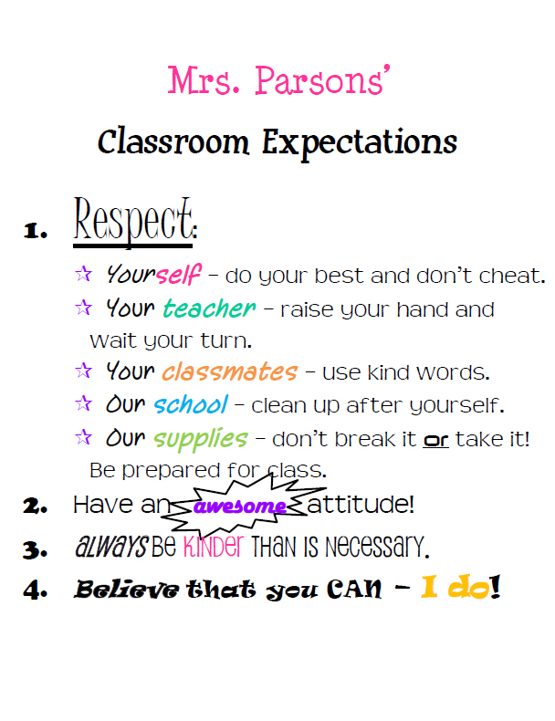 Parsons Classroom Expectations